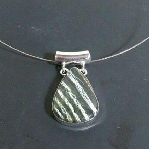 NEW! Swiss Opal Green Cream Stone Choker